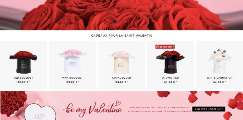 Bouquet de fleurs GRACE - Saint-Valentin