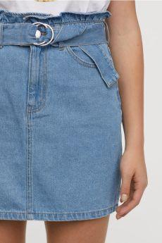 H&M - jupe en jean avec ceinture
